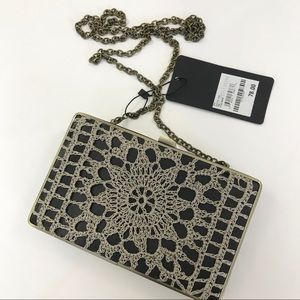 Nordstrom Clutch Box chain Case Crochet Black NWT